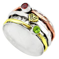 Meditation band natural garnet silver two tone spinner ring size 8.5 t12718