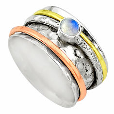 Meditation band natural moonstone silver two tone spinner ring size 7 t12624