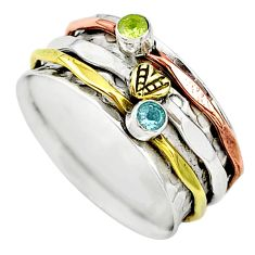 Meditation band natural topaz silver two tone spinner ring size 10.5 t12717
