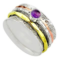Meditation band purple amethyst 925 silver two tone spinner ring size 8.5 t12721