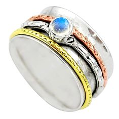 Meditation band rainbow moonstone 925 silver two tone spinner ring size 7 t12726