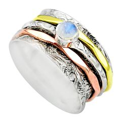 Meditation band rainbow moonstone 925 silver two tone spinner ring size 7 t12738