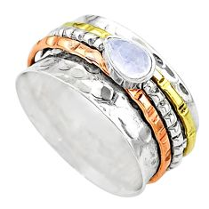 Meditation band rainbow moonstone silver two tone spinner ring size 8.5 t12671