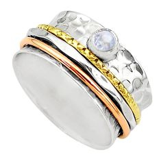 Meditation band rainbow moonstone silver two tone spinner ring size 10.5 t12673