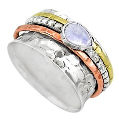 Meditation band rainbow moonstone silver two tone spinner ring size 8.5 t12680