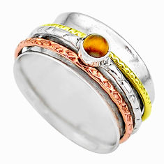 Meditation band tiger's eye 925 silver two tone spinner ring size 8 t12714