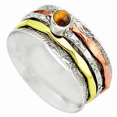 Meditation band tiger's eye 925 silver two tone spinner ring size 10.5 t12724