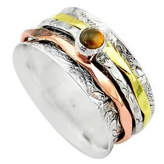 Meditation band tiger's eye 925 silver two tone spinner ring size 10.5 t12727
