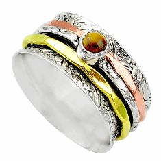 Meditation band tiger's eye 925 silver two tone spinner ring size 8.5 t12737