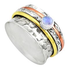 Meditation ring natural moonstone silver two tone spinner ring size 9.5 t12622