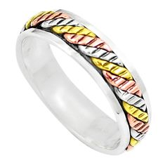 5.03gms meditation silver two tone spinner band ring jewelry size 11.5 c21595