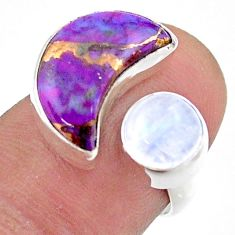 8.75cts moon copper turquoise moonstone silver adjustable ring size 6.5 t47515