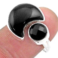 9.05cts moon natural black onyx 925 silver adjustable ring size 8 t47570