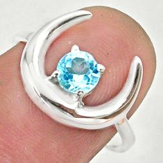 0.92cts moon natural blue topaz 925 sterling silver ring size 7 t46574