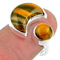 9.04cts moon natural brown tiger's eye 925 silver adjustable ring size 8 t47569