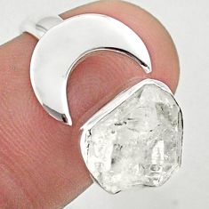 5.13cts moon natural herkimer diamond 925 silver adjustable ring size 7 t49362