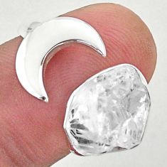 5.52cts moon natural herkimer diamond 925 silver adjustable ring size 8 t49372