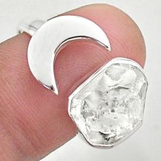5.87cts moon natural herkimer diamond 925 silver adjustable ring size 8 t49374