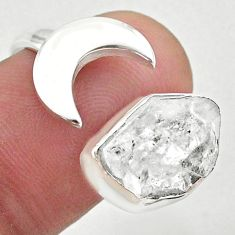 5.79cts moon natural herkimer diamond 925 silver adjustable ring size 9 t49355