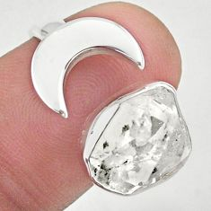 5.52cts moon natural herkimer diamond 925 silver adjustable ring size 6.5 t49370