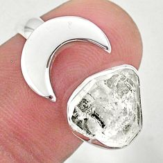 5.36cts moon natural herkimer diamond 925 silver adjustable ring size 6.5 t49373