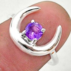 0.86cts moon natural purple amethyst round 925 silver ring size 7 t46580