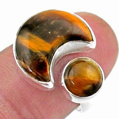 9.47cts moon natural tiger's eye 925 silver adjustable ring size 7.5 t47527