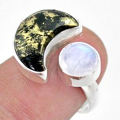 Moon pyrite in magnetite moonstone 925 silver adjustable ring size 7.5 t47513