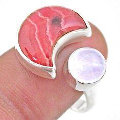 Moon rhodochrosite inca rose moonstone 925 silver adjustable ring size 9 t47517