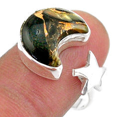 6.27cts moon star australian obsidian 925 silver adjustable ring size 9 t47611