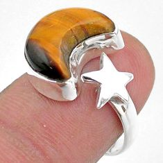 6.26cts moon star charm natural tiger's eye silver adjustable ring size 7 t47627
