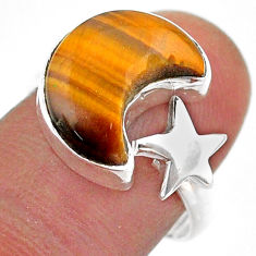6.47cts moon star charm natural tiger's eye silver adjustable ring size 8 t47593
