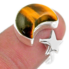 6.27cts moon star charm tiger's eye 925 silver adjustable ring size 8 t47596