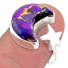 6.55cts moon star copper turquoise 925 silver adjustable ring size 8 t47604