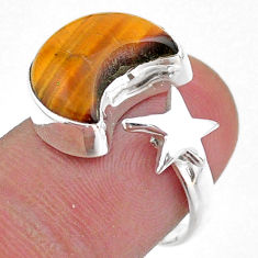 6.26cts moon star natural tiger's eye 925 silver adjustable ring size 7 t47637