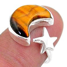 6.27cts moon star natural tiger's eye 925 silver adjustable ring size 6.5 t47616