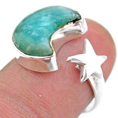5.63cts moon star peruvian amazonite 925 silver adjustable ring size 7 t47629