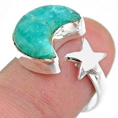 5.96cts moon star peruvian amazonite 925 silver adjustable ring size 7 t47630