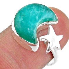 6.27cts moon star peruvian amazonite 925 silver adjustable ring size 8 t47565