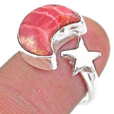Moon star pink rhodochrosite inca rose silver adjustable ring size 6.5 t47640