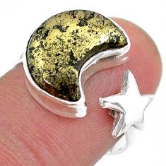 6.57cts moon star pyrite in magnetite 925 silver adjustable ring size 7.5 t47613