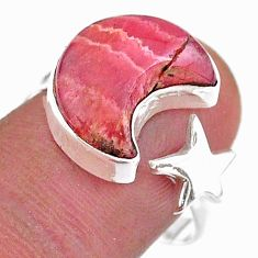 6.80cts moon star rhodochrosite inca rose silver adjustable ring size 8.5 t47600