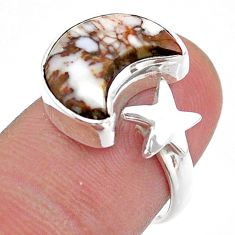 5.63cts moon star wild horse magnesite silver adjustable ring size 7.5 t47633