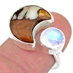 Moon wild horse magnesite moonstone 925 silver adjustable ring size 7.5 t47509