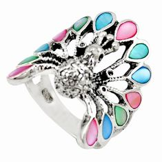 Multi color blister pearl 925 sterling silver peacock ring size 6.5 c21645