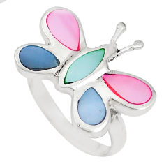 4.69gms multi color blister pearl enamel 925 silver butterfly ring size 6 c20791