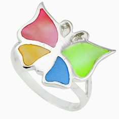 Multi color blister pearl enamel 925 silver butterfly ring size 7 a39948 c13298