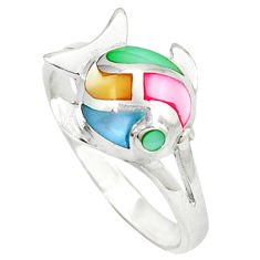 Multi color blister pearl enamel 925 silver fish ring size 6.5 c12962