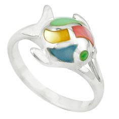 Multi color blister pearl enamel 925 silver fish ring size 6.5 c12977