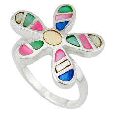 Multi color blister pearl enamel 925 silver flower ring size 8.5 a39867 c13057